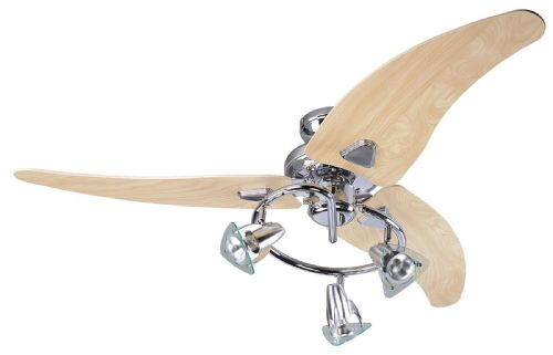 "Eurofans Scorpion 48"" Chrome Ceiling Fan +  Light 111603"